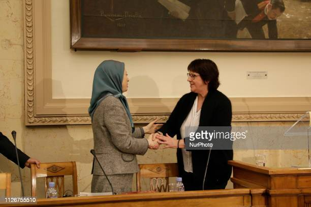 Maryam Rajavi Michele de Vaucouleurs in Paris France on February 21 2019 during the French National Assembly On Thursday February 21 The...