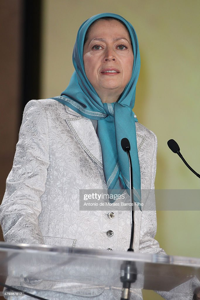 Maryam Rajavi, president of the National Council of Resistance of Iran (NCRI), speaks at the Tolerant & Democratic Islam vs Fanaticism & Extremism Dinner In Paris on July 3, 2015 in Paris, France.