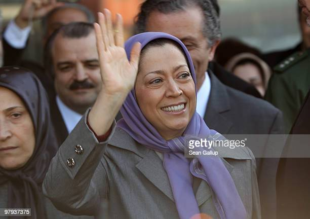 Maryam Rajavi president of the National Council of Resistance of Iran greets several hundred Iranian expatriates who had gathered to welcome her upon...