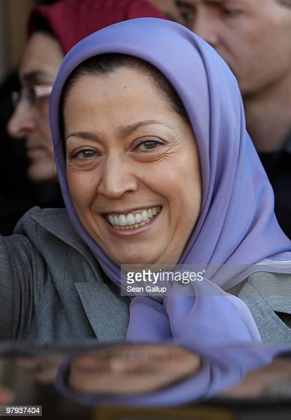 Maryam Rajavi president of the National Council of Resistance of Iran smiles to several hundred Iranian expatriates who had gathered to welcome her...