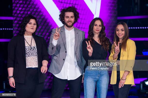 Maryam Tancredi Andrea Butturini Asia Sagripanti Beatrice Pezzini attends 'The Voice Of Italy' final photocall on May 8 2018 in Milan Italy