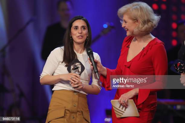 Maryam Zaree chats with host Annette Gerlach during the 54th Grimme Award on April 13 2018 in Marl Germany