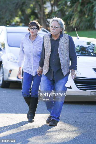 SYDNEY NSW Maryan Herffernan and John Ruszczyk father of Justine Damond arrive to speak to the media outside their house in Sydney New South Wales...