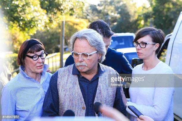 SYDNEY NSW Maryan Herffernan and John Ruszczyk father of Justine Damond brother John Ruszczyk and Katarina Ruszczyk arrive to speak to the media...