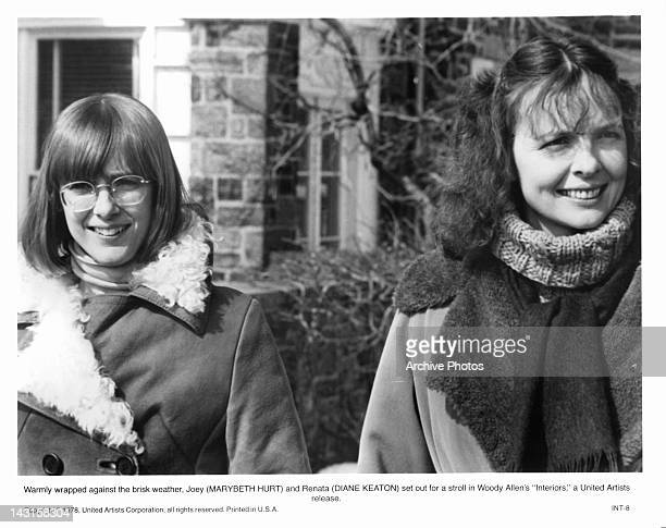 Marybeth Hurt and Diane Keaton in winter coats in a scene from the film 'Interiors' 1978