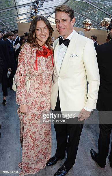 MaryClare Elliot and Ben Elliot attend British Vogue's Centenary gala dinner at Kensington Gardens on May 23 2016 in London England