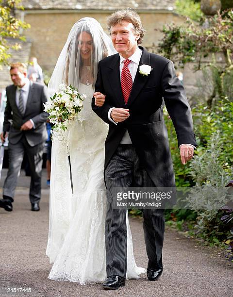 MaryClare Winwood and Steve Winwood arrive at the church of St Peter and St Paul Northleach for MaryClare's wedding to Ben Elliot on September 10...