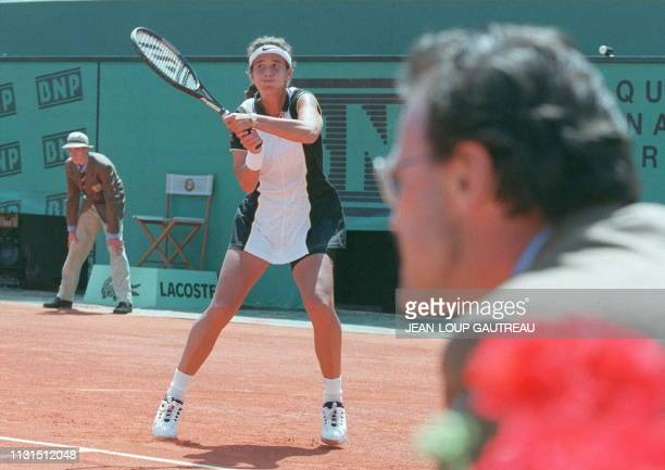 MaryJoe Fernandez of the United States hits a return to compatriot Lori McNeil during their firstround match at the French Open 27 May Fernandez won...