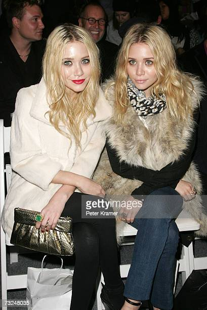 MaryKate and Ashley Olsen attend the Jenni Kayne Fall 2007 fashion show during MercedesBenz Fashion Week at The Salon in Bryant Park February 7 2007...