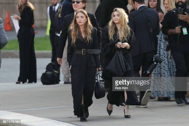 MaryKate Olsen and Ashley Olsen arrive for the 2018 CFDA Fashion Awards at Brooklyn Museum on June 4 2018 in New York City
