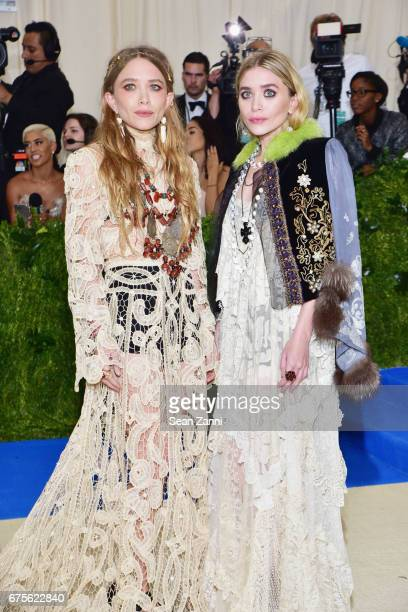 MaryKate Olsen and Ashley Olsen arrives at Rei Kawakubo/Comme des Garcons Art Of The InBetween Costume Institute Gala at The Metropolitan Museum on...
