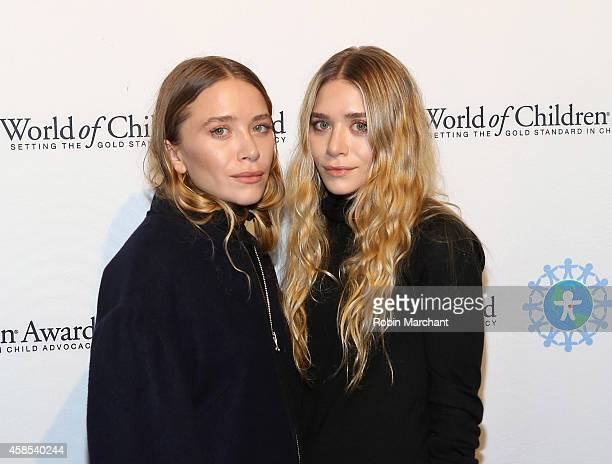 MaryKate Olsen and Ashley Olsen attend 2014 World Of Children Awards at 583 Park Avenue on November 6 2014 in New York City