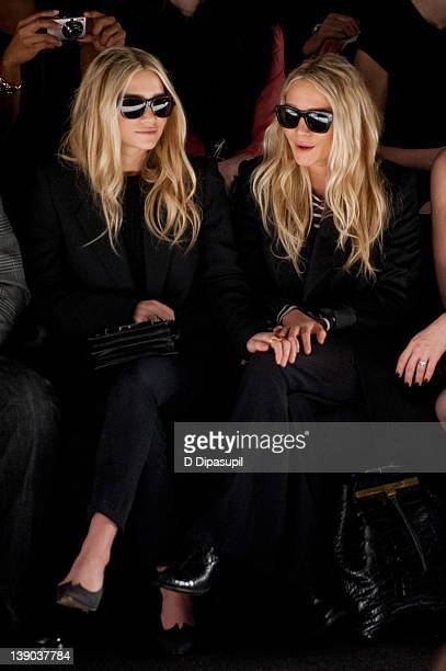 Mary-Kate Olsen and Ashley Olsen attend the J. Mendel Fall 2012 fashion show during Mercedes-Benz Fashion Week at The Theatre at Lincoln Center on...