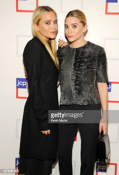 MaryKate Olsen and Ashley Olsen attend the jcpenney launch event at Pier 57 on January 25 2012 in New York City