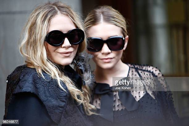 MaryKate Olsen and Ashley Olsen attend the opening night of Lend Me A Tenor at The Music Box Theatre on April 4 2010 in New York City