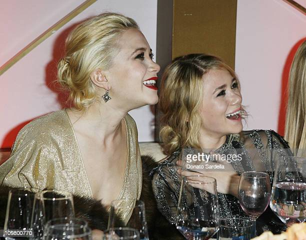Mary-Kate Olsen and Ashley Olsen during In Style and Warner Bros. 2007 Golden Globe After Party - Inside at Beverly Hilton Hotel in Beverly Hills,...