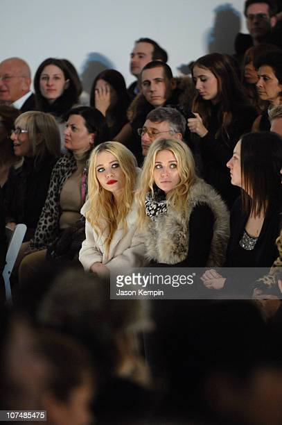 MaryKate Olsen and Ashley Olsen during MercedesBenz Fashion Week Fall 2007 Jenni Kayne Front Row and Backstage at The Salon Bryant Park in New York...