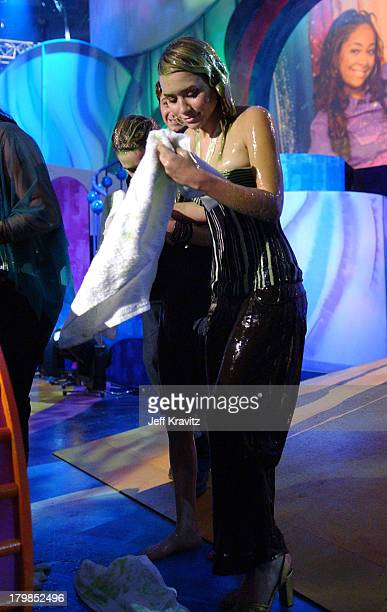 MaryKate Olsen and Ashley Olsen getting slimed during Nickelodeon's 17th Annual Kids' Choice Awards Show at Pauley Pavillion in Westwood California...
