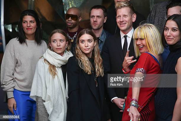 MaryKate Olsen Ashley Olsen and Betsey Johnson attend 2015 CFDA Fashion Awards Announcement Party at The Weather Room at the Top of the Rock on March...