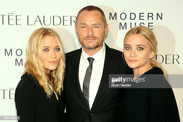 MaryKate Olsen makeup artist Tom Pecheux and Ashley Olsenattends the Estee Lauder 'Modern Muse' Fragrance Launch Party at the Guggenheim Museum on...