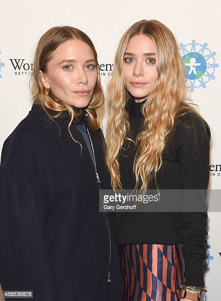 MaryKate Olson and Ashley Olson attend the 2014 World Of Children Awards at 583 Park Avenue on November 6 2014 in New York City