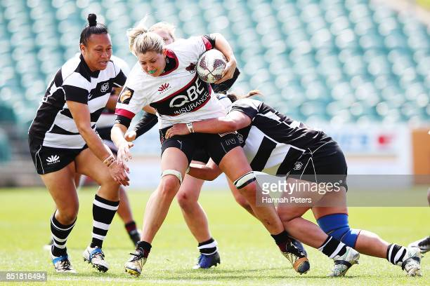 Maryke Penman of North Harbour charges forward during the round four Farah Palmer Cup match between North Harbour and Hawkes Bay at QBE Stadium on...
