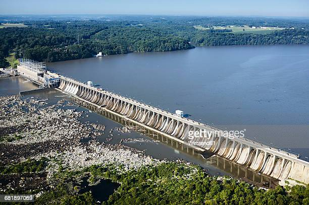 USA, Maryland, Aerial photograph of the Conowingo Dam on the Susquehanna River