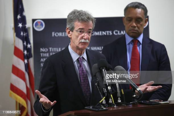 Maryland Attorney General Brian Frosh and District of Columbia Attorney General Karl Racine answer questions after a case before the United States...