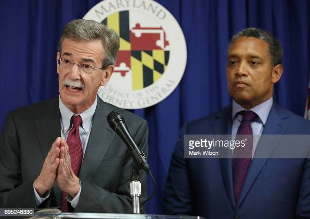 Maryland Attorney General Brian Frosh and District of Columbia Attorney General Karl Racine speak to the media about filing a lawsuit against US...