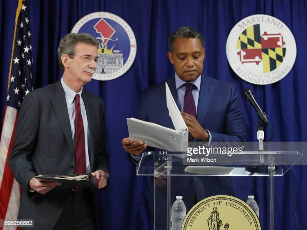 Maryland Attorney General Brian Frosh and District of Columbia Attorney General Karl Racine prepare to the media about filing a lawsuit against US...