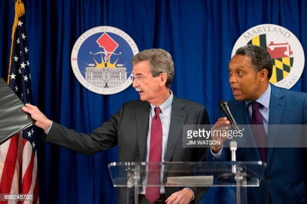 Maryland Attorney General Brian Frosh and Washington DC Attorney General Karl Racine speaks during a press conference in Washington DC on June 12...