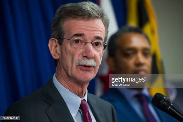 Maryland Attorney General Brian Frosh left and DC Attorney General Karl Racine conduct a news conference on a lawsuit they've filed against President...