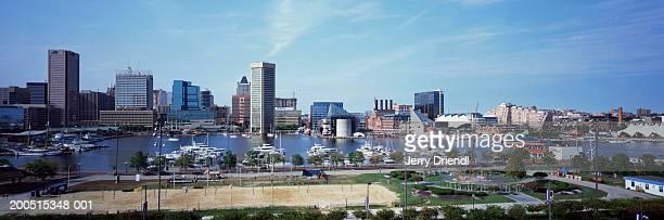USA, Maryland, Baltimore, harbour and city skyline