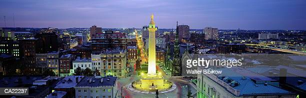 usa, maryland, baltimore, washington monument, dusk, elevated view - baltimore maryland stock pictures, royalty-free photos & images