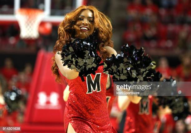 Maryland cheerleader in a dance routine during a Big 10 men's basketball game between the University of Maryland Terrapins and the University of...