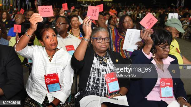 Maryland delegates voting on resolutions at the NAACP National Convention from Anne Arundel County are from left, Tryphenia Ellis-Johnson, general...
