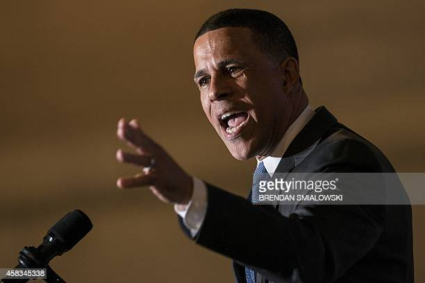 Maryland Democratic gubernatorial candidate Anthony Brown addresses a rally at the War Memorial Building on November 3 2014 in Baltimore Maryland US...