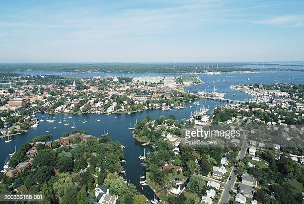 USA, Maryland, downtown Annapolis and Chesapeake Bay, aerial view