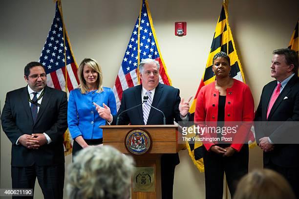 Maryland gov elect Larry Hogan center announces four cabinet secretaries from left Sam J Abed Department of Juvenile Services Del Kelly M Schulz...