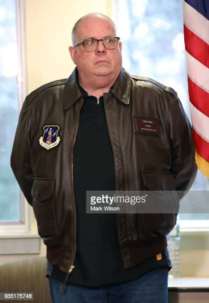 Maryland Governor Larry Hogan attends a briefing about the shooting this morning at Great Mills High School on March 20 2018 in Great Mills Maryland...