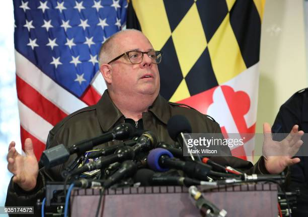 Maryland Governor Larry Hogan, briefs the media about a shooting this morning at Great Mills High School on March 20, 2018 in Great Mills, Maryland....