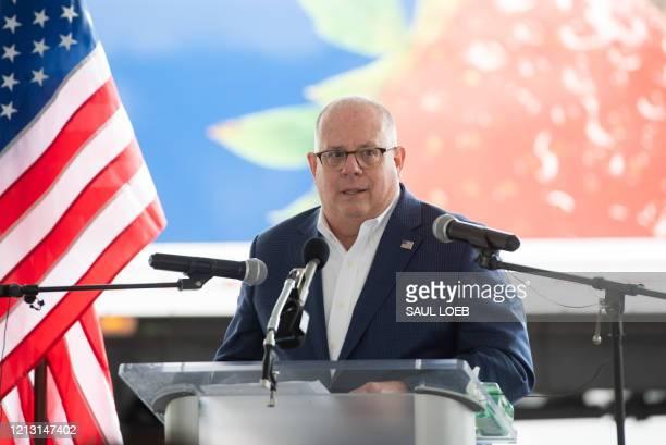 Maryland Governor Larry Hogan speaks after touring Coastal Sunbelt Produce with Senior Advisor to the President Ivanka Trump, in Laurel, Maryland,...
