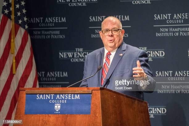 Maryland Governor Larry Hogan speaks at the New Hampshire Institute of Politics as he mulls a Presidential run on April 23, 2019 in Manchester, New...