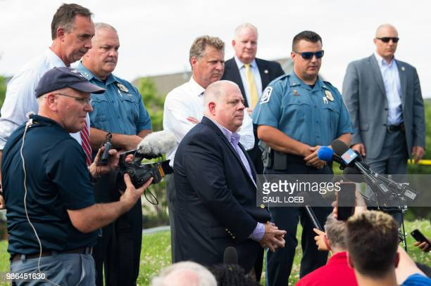 Maryland Governor Larry Hogan speaks during a press conference following a shooting in Annapolis Maryland June 28 2018 At least five people were...