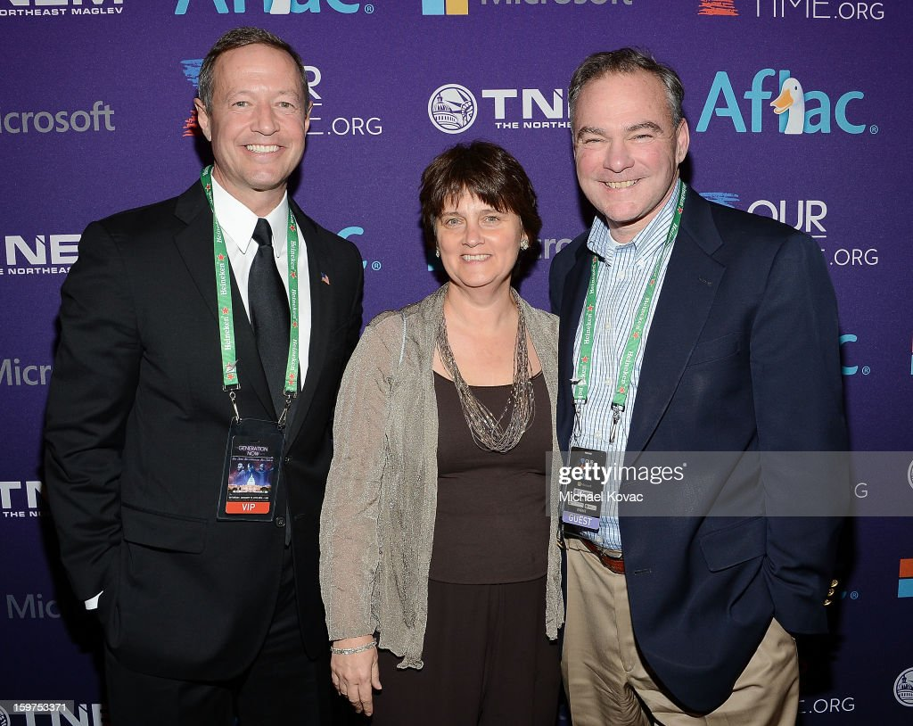 Maryland Governor Martin O'Malley, Anne Holton, and Senator Tim Kaine (D-VA) attend the Inaugural Youth Ball hosted by OurTime.org at Donald W. Reynolds Center on January 19, 2013 in Washington, United States.