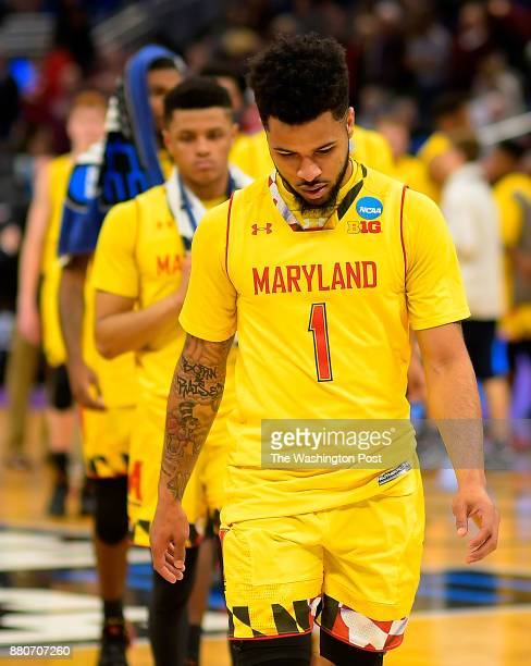 Maryland guard Jaylen Brantley leads his teammates off the floor after Xaviers defeat of Maryland 76 65 in the first round of the NCAA mens...