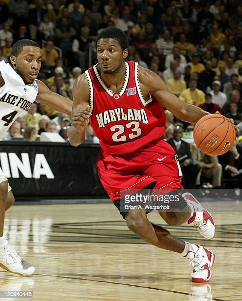 Maryland guard Mike Jones drives the lane past Wake Forest guard Taron Downey during second half action at the LJVM Coliseum in WinstonSalem NC...