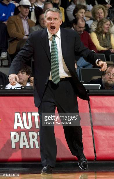 Maryland head coach Gary Williams yells instructions at his team during first half action versus Wake Forest at the LJVM Coliseum in Winston-Salem,...