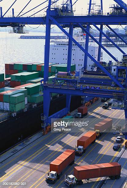 USA, Maryland, Port of Baltimore, container operations, elevated view