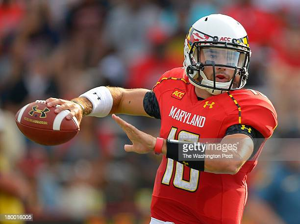 Maryland quarterback CJ Brown passes in the 2nd quarter as the Maryland Terrapins defeat the Old Dominion Monarchs 47 10 in football at Byrd Stadium...